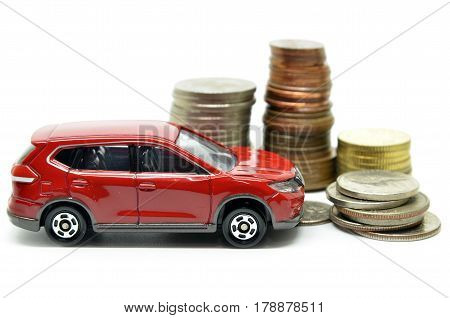 Saving money for a car concept on white background