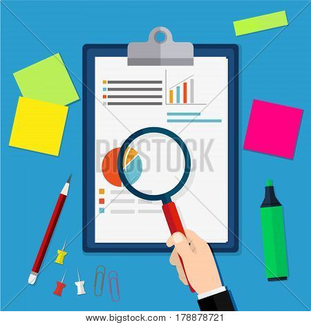 Financial audit concept. Auditing tax process. Business background. Vector illustration in flat design