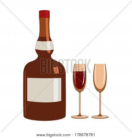 Vector Illustration of Liquor bottle and glasses