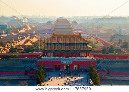 Aerial view of Forbidden City from Jingshan Park in Bejing China