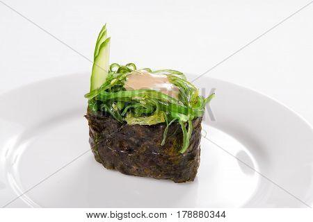 Traditional Japanese Cuisine, Gunkan Chukka On White Background