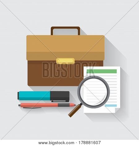 briefcase businessman, document, magnifying glass, marker and pen. business concept. Vector illustration in a flat style.