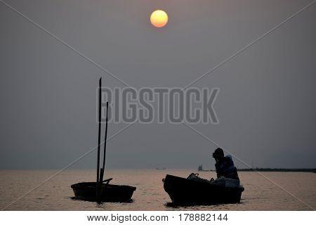 Sun sets at the River Brahmaputra Guwahati Assam