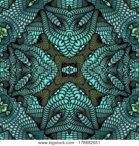 Kaleidoscopic blue and green seamless pattern is computer graphics and it can be used in the design of textiles in the printing industry in a variety of design projects.