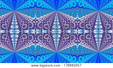 Kaleidoscopic blue and purple pattern is computer graphics and it can be used in the design of textiles in the printing industry in a variety of design projects.