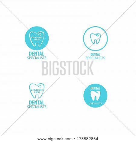 Set of dental clinic logo tooth icon. Can be used as logo for dental, dentist or stomatology clinic, teeth care and health concept. vector illustration EPS10