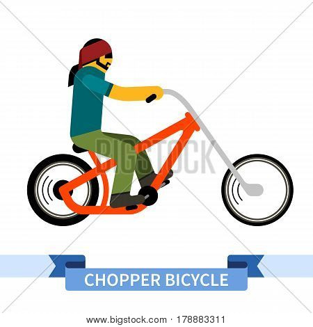 Bicyclist on chopper bike. Simple side view clipart drawing in flat color. Isolated chopper bicycle vector illustration poster