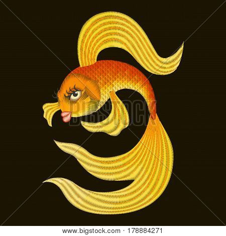 Vector illustration Embroidery Gold fish from a fairy tale.