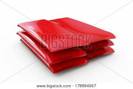 Red packing for candy. 3d render image.