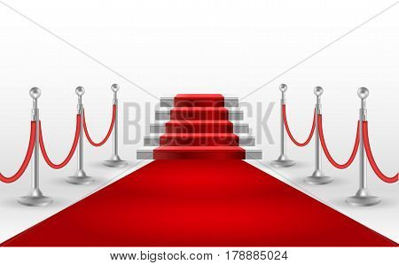 Red carpet with white stair. Poster or brochure template. EPS10