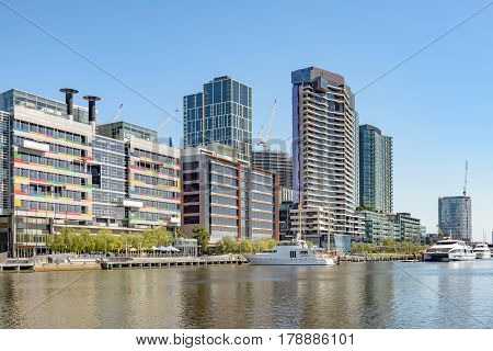 MELBOURNE AUSTRALIA - NOVEMBER 03 2016: Modern office building at Victoria Harbour Promenade Melbourne.