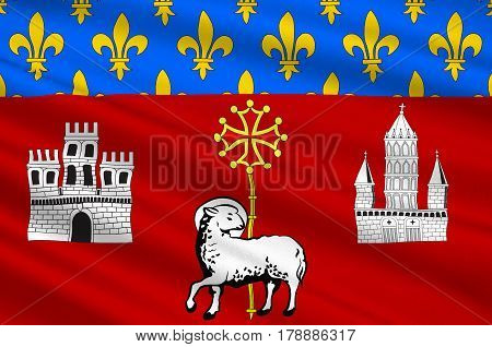 Flag of Toulouse is the capital city of the southwestern French department of Haute-Garonne of Occitanie region. 3d illustration