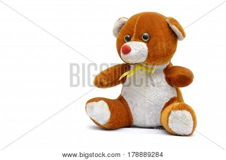 Softy toy, teddy bear, for babies an little kids, on the white background