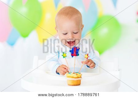 Little Baby Boy Celebrating First Birthday
