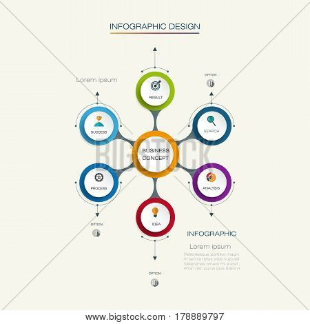 Vector infographic template with 3D paper label integrated circles. Business concept with options. For content, diagram, flowchart, steps, parts, timeline, infographics, workflow, layout, chart