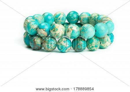 Variscite Round Bead Stretchy Bangle Bracelets on white background