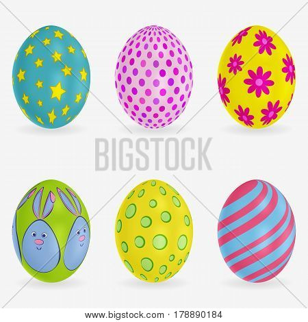 Set of colorful Easter eggs. Different patterns on each. Vector 3d icons. Festive illustration for your design. EPS10 format.