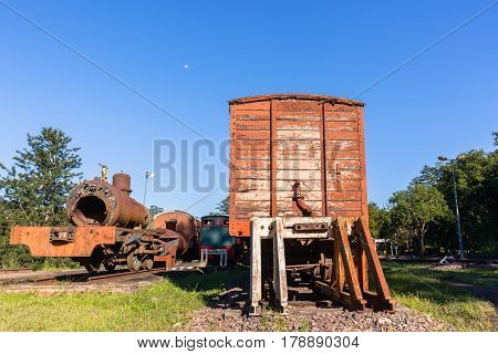 Trains old steam locomotives boilers coaches decaying station graveyard.