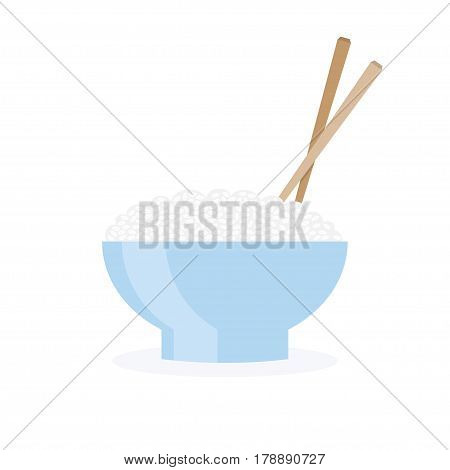 bowl with rice and Chopsticks. vector illustration Isolated on White Background.