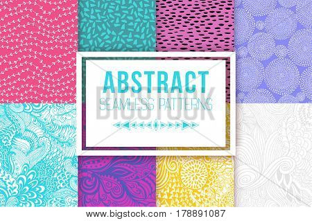 Abstract seamless patterns set. Seamless vector textures. Ethnic seamless backdrop.