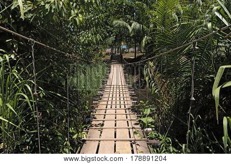 Hanging bridge over a river at Drake in Costa Rica