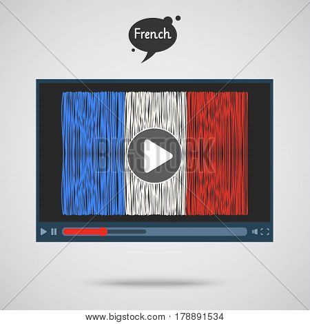 Concept of learning languages. Study French. Screen with hand drawn French flag. Film in French.
