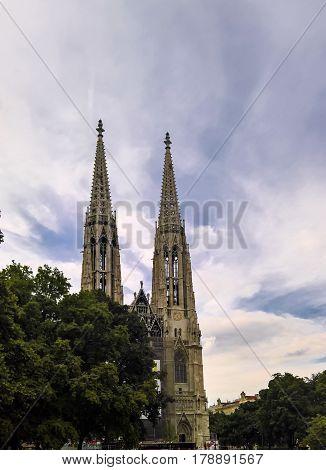 Exterior view to Votive Church in Vienna. Austria