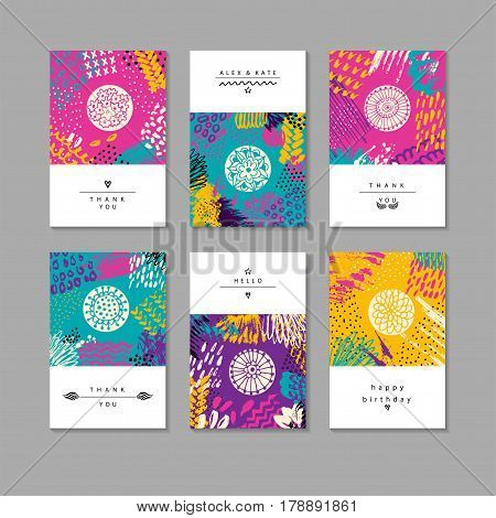 Set of creative business card template and flyers.Set of artistic creative universal cards. Hand Drawn textures. Wedding, anniversary, birthday, Valentine s day, party. Design for poster, card, invitation, placard, brochure, flyer. Vector Isolated