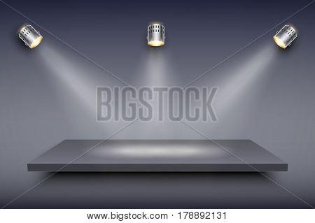Light box with black presentation platform on dark backdrop with three spotlights. Editable Background Vector illustration.