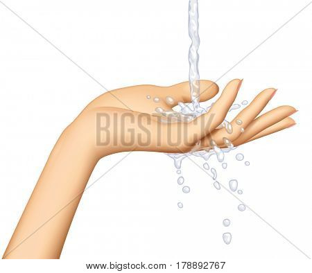 Woman's hand palm up with water stream flowing on them