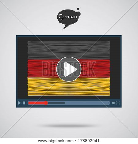 Concept of learning languages. Study German. Screen with hand drawn Germanflag. Film in German.