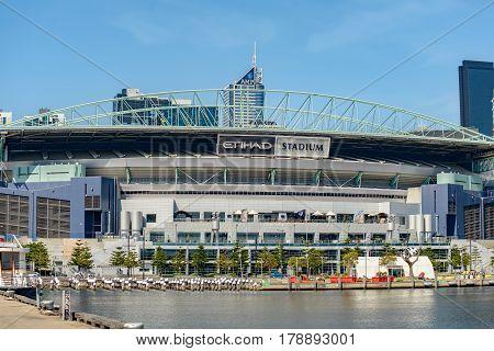 MELBOURNE AUSTRALIA - NOVEMBER 03 2016: Etihad Stadium at at Victoria Harbour Promenade Melbourne.