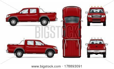 Red pickup truck vector illustration. Four wheel drive car isolated on white. All layers and groups well organized for easy editing and recolor. View from side back front and top.