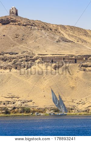 Felucca (river Boat) On The Nile, With The Sahara Behind In Aswan, Egipt.