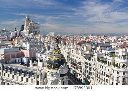 Aerial view of the beginning of Calle Gran Via in Madrid Spain