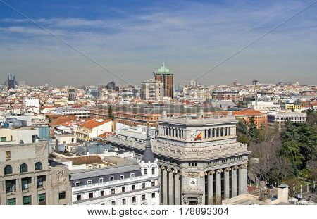 Aerial view of Madrid on sunny day