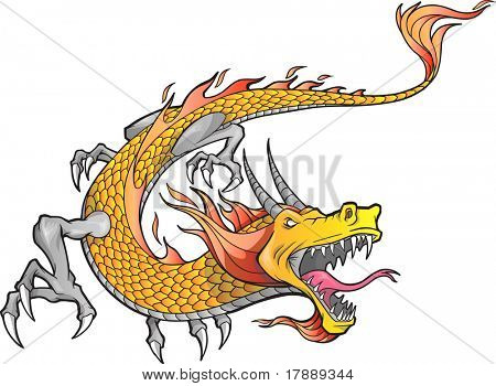 Vector Illustration of a Fire Dragon