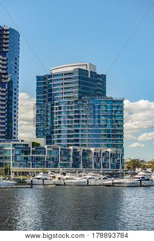 MELBOURNE AUSTRALIA - NOVEMBER 03 2016: New residential apartment building at Victoria Harbour Promenade Melbourne.