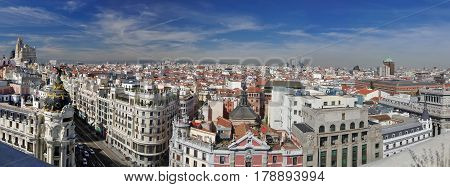 Panorama of the beginning of Calle Gran Via and center of Madrid Spain