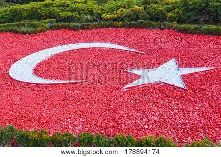 National Flag of Turkey, made with colored pebble stone