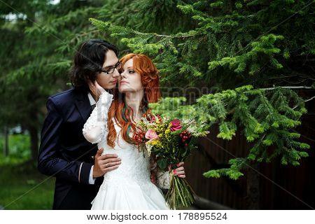 Close-up Of Happy Boho Wedding Couple