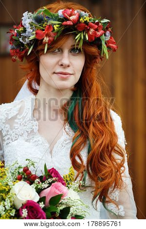 Boho Bride With Red Hair With Flowers