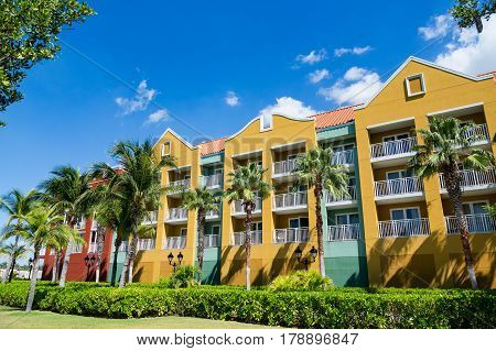 Balconies on Colorful Tropical Resort on Curacao