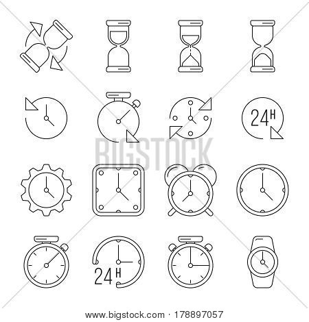Time management, sand clock, 24 hours thin line vector set. Clock face dial with arrow illustration