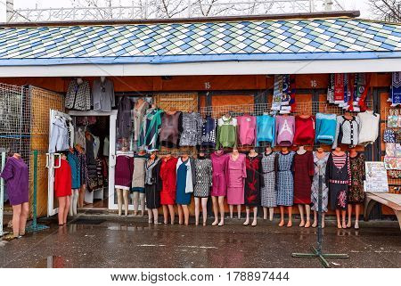 MOSCOW, RUSSIA - JANUARY 30, 2016. Clothing market near the Kremlin in Izmailovo. Moscow, Russia.