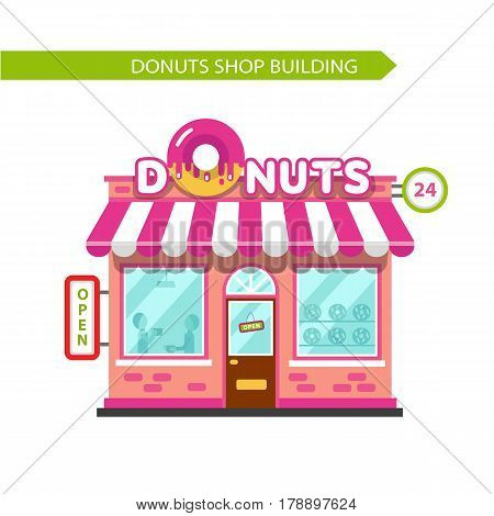 Vector flat design illustration of donuts shop building. Signboard with big donut. People eating at the restaurant. Isolated on white background.