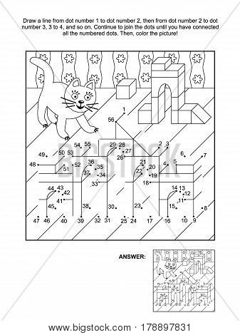 Toy town buildings and playful cat connect the dots picture puzzle and coloring page. Answer included.