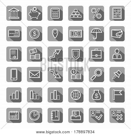 Bank, Finance, icons, gray, contour, vector. White outline drawing on gray background with shadow. Vector clip art.