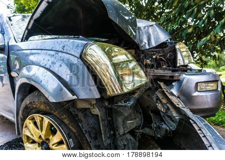 Car Crash Accident On Road Insurance Concept