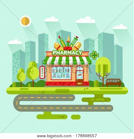 Vector flat design illustration of City landscape with pharmacy shop building, street with road, bench. Signboard with big syringe, pipette, tablets, thermometer. Showcase with pills and potions.